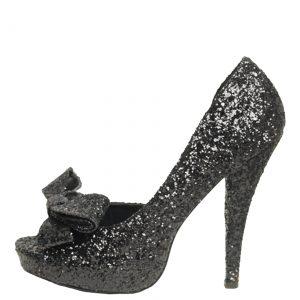 Black Glitter Peep Toe Bow Pump
