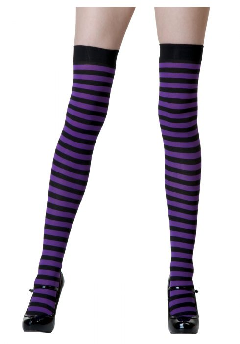 Black / Purple Striped Stockings