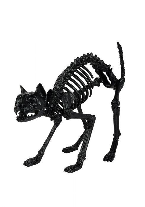 Black Skeleton Cat Prop