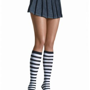 Black / White Striped Knee High Stockings