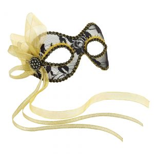 Black and Gold Lace Mardi Gras Mask