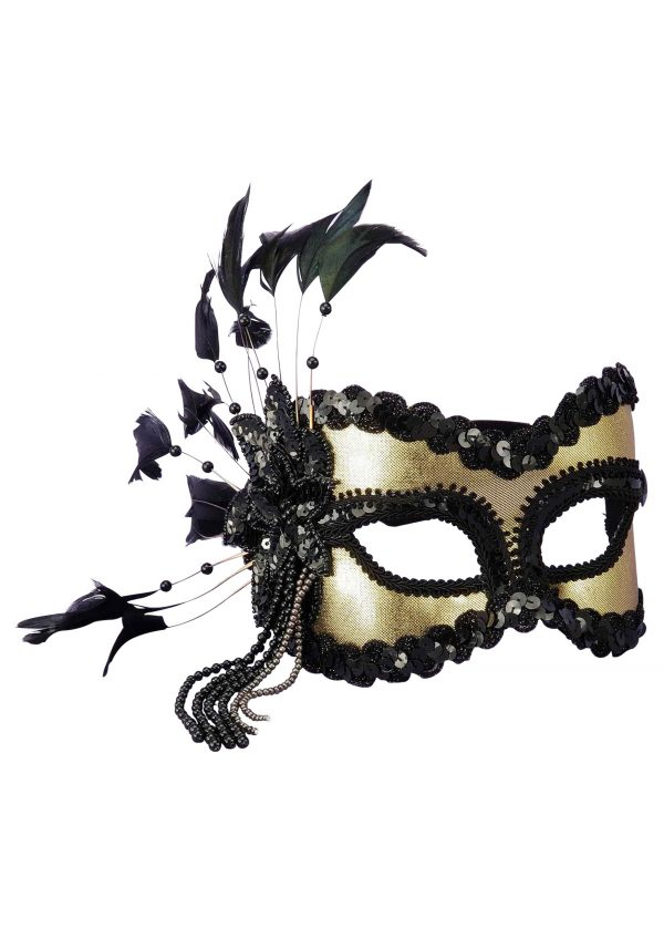 Black and Gold Sequin and Feather Mardi Gras Mask