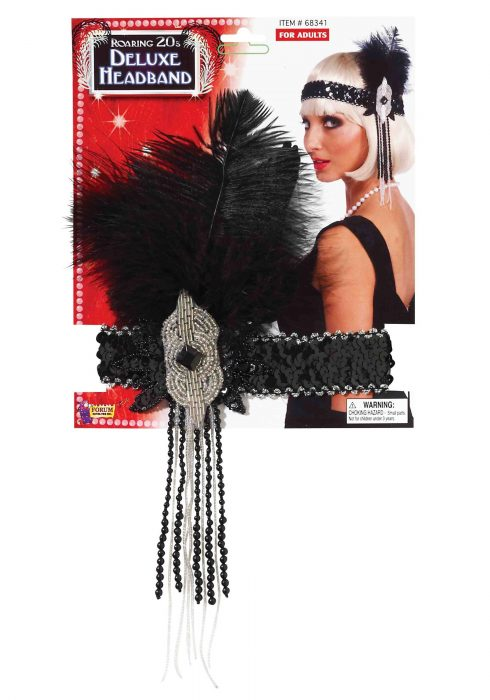Black/Silver Deluxe Beaded Flapper Headband