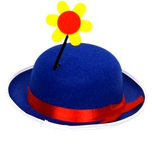 Blue Clown Derby Hat with Flower