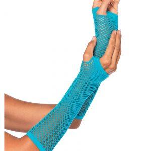 Blue Fishnet Gloves