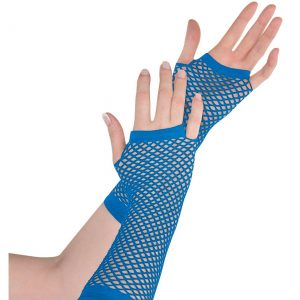 Blue Fishnet Long Gloves