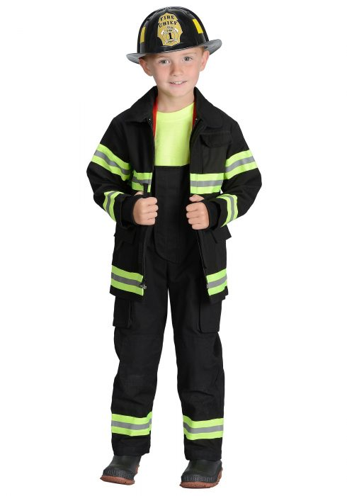 Boys Black Fireman Costume