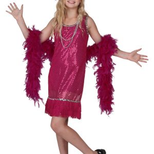Child Fuchsia Sequin and Fringe Flapper Costume