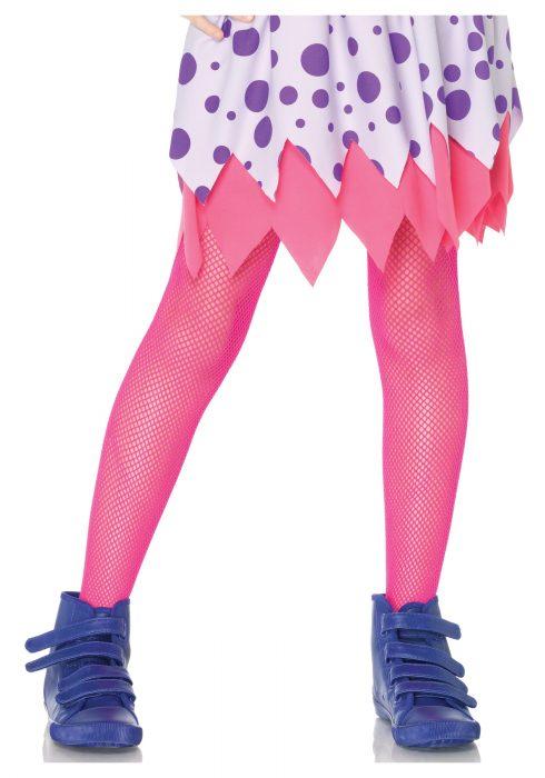 Child Neon Pink Fishnet Tights