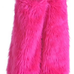 Child Pink Furry Boot Covers