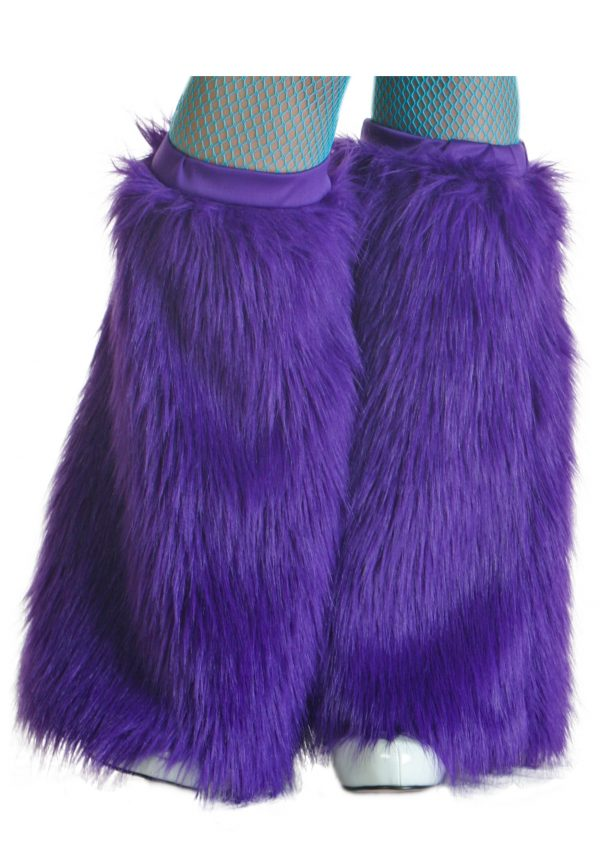 Child Purple Furry Boot Covers