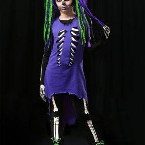 Child Purple & Green Skeleton Girl Costume