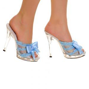 Clear Slip In Peep Toe Heels w/ Blue Ribbon