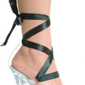 Clear Stripper Shoes with Colored Ribbon