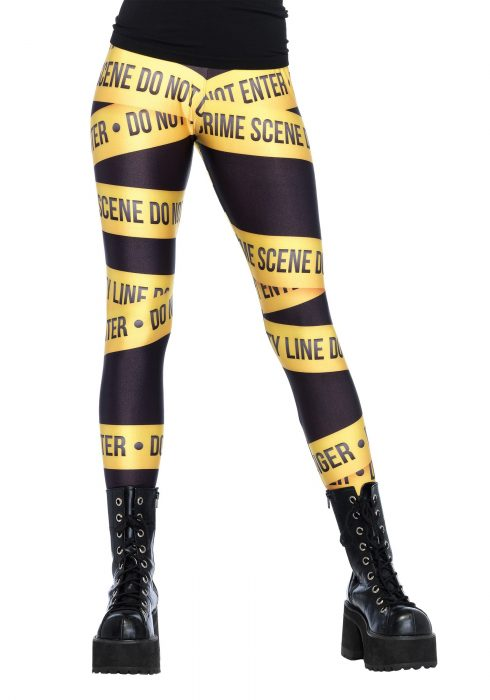 Crime Scene Tape Print Leggings