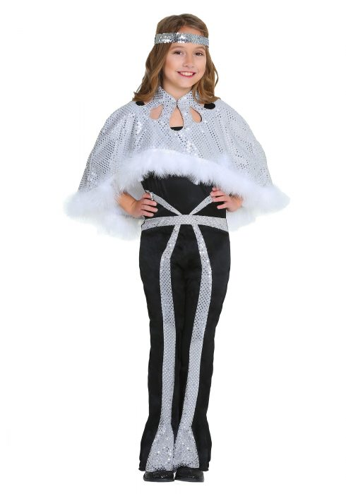 Dazzling Silver Disco Girls Costume