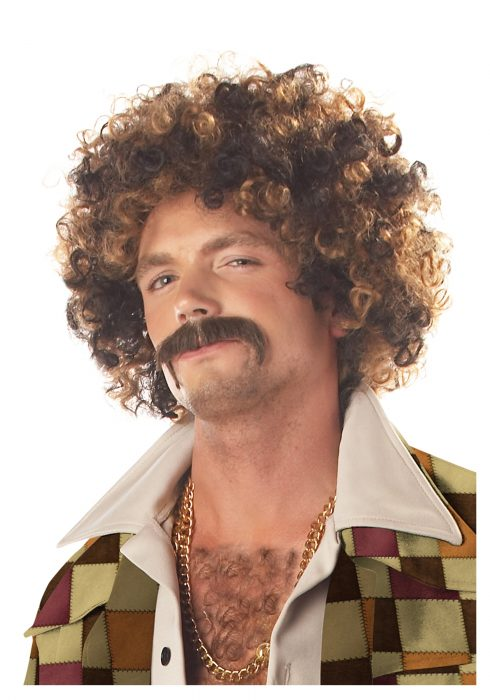 Disco Dirt Bag Wig and Mustache