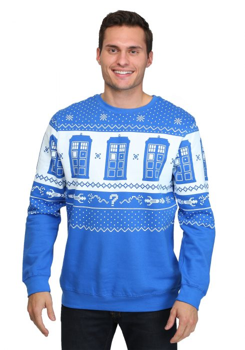 Doctor Who Tardis Printed Fleece Christmas Sweater