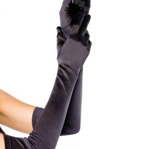 Extra Long Black Shiny Gloves