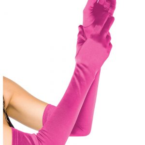 Extra Long Satin Fuchsia Gloves