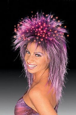 Fiber Optic Purple Wig