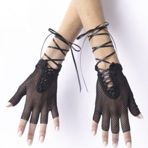 Fingerless Fishnet Gloves - Black