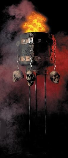 Flaming Cauldron Haunted House Prop