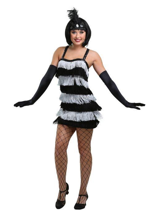 Fringed Silver Flapper Dress