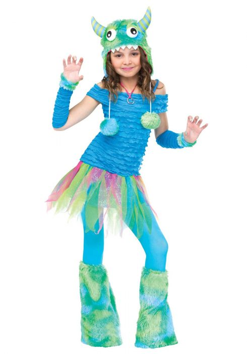 Girls Blue Beastie Monster Costume