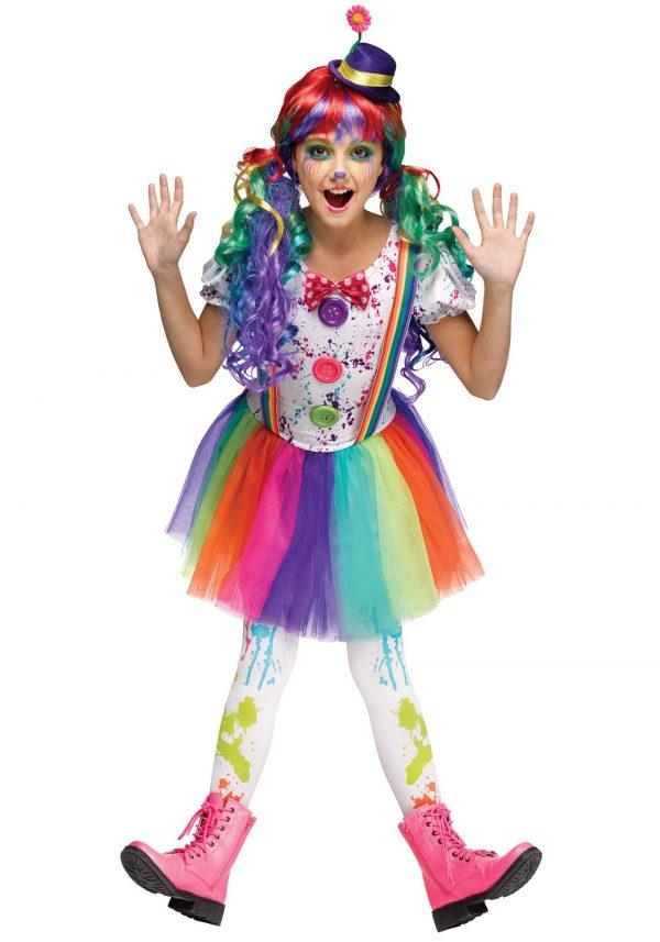 Girls Crazy Color Clown Costume