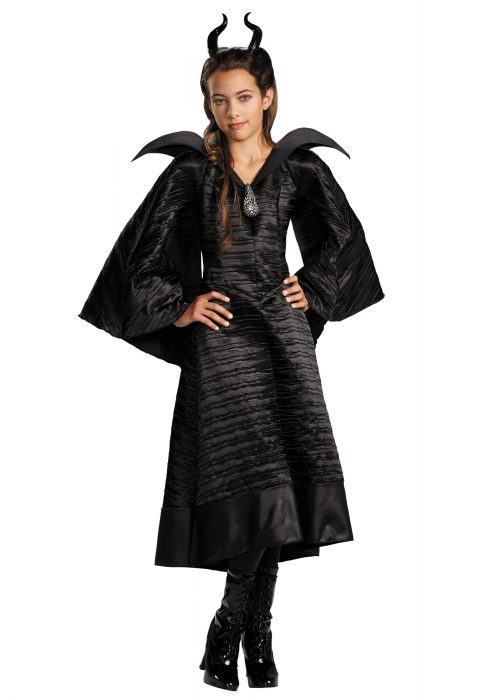 Girls Deluxe Black Maleficent Christening Gown Costume