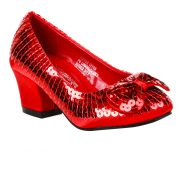 Girls Red Sequin High Heeled Shoes