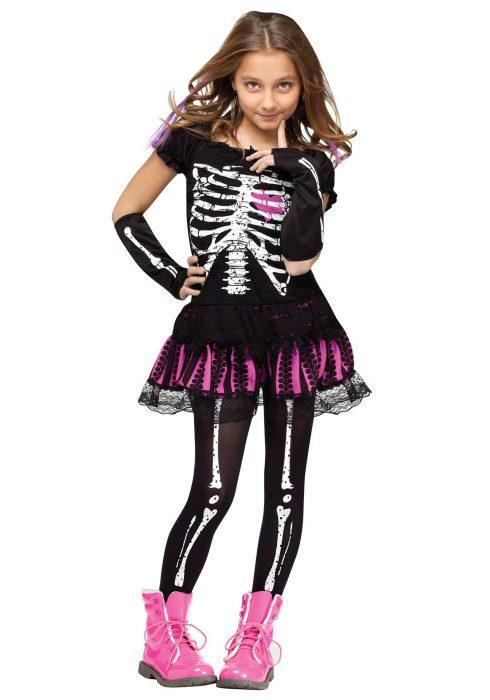 Girls Sally Skelly Costume