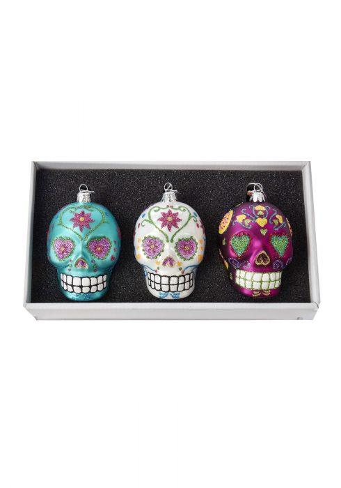 Glass Sugar Skull Ornament 3pc Box Set
