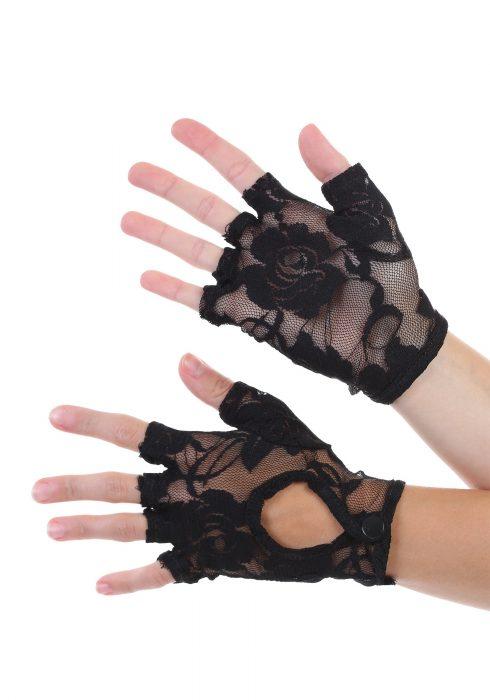 Keyhole Fingerless Lace Gloves