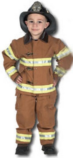 Kids Fire Fighter Costume with Helmet - Tan