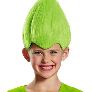 Kids Green Troll Wig