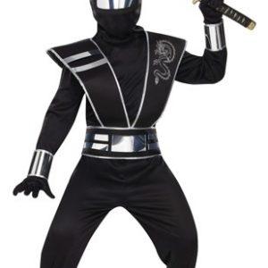 Kids Silver Ghost Mirror Ninja Costume