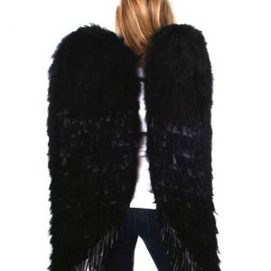 Large Black Feather Angel Wings