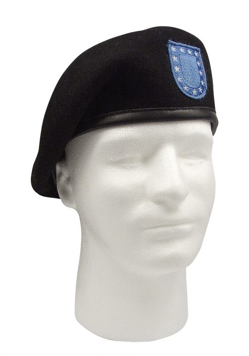 Men's Black Beret w/Flash