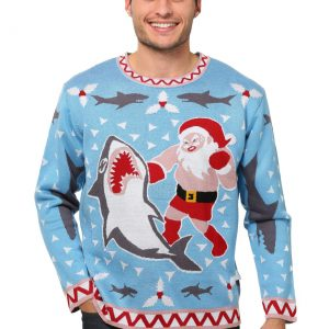 Men's Santa vs Shark Christmas Sweater