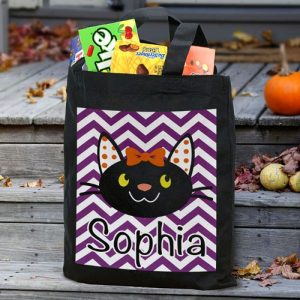 Personalized Cat Trick or Treat Tote Bag