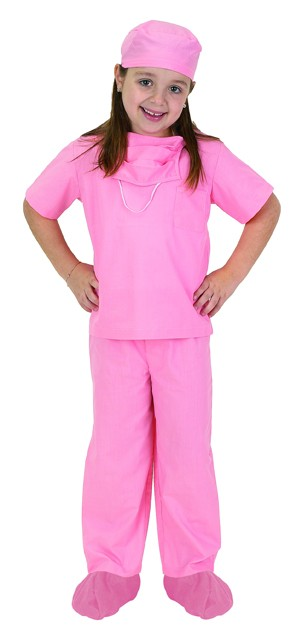 Personalized Child Doctor Scrubs Costume - Pink
