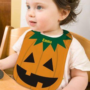 Personalized Jackolantern Baby Bib