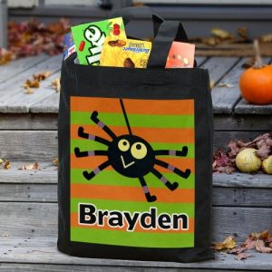 Personalized Striped Trick or Treat Bag