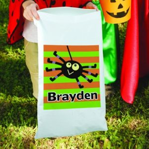 Personalized Striped Trick or Treat Sack Bag