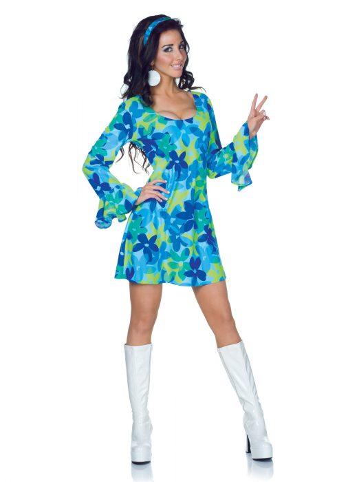 Plus Size 70s Wild Flower Retro Dress Costume