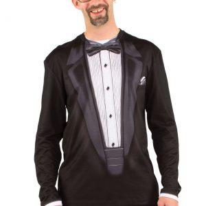 Plus Size Faux Real Long Sleeve Tuxedo Shirt