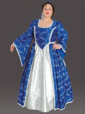 Plus Size Medieval Princess Costume (Blue)