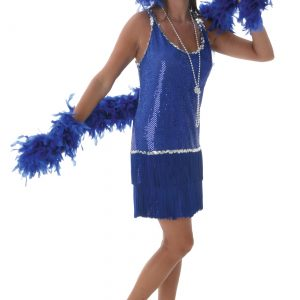 Plus Size Sequin & Fringe Blue Flapper